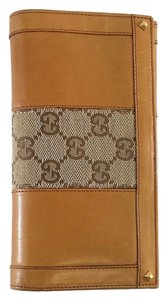 Gucci Brown Leather & Monogram Canvas Wallet