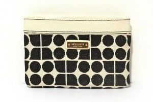 Kate Spade Kate Spade New York Noel Black White Cotton Patent Leather Mini Wallet