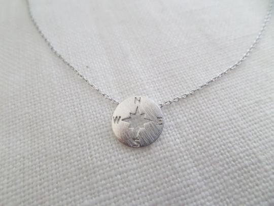 Other New Tiny circle disk necklace, compass jewelry, compass necklace in Silver