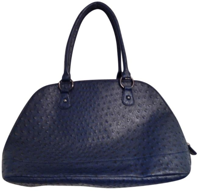 Item - Roomy Patterned Leather Midnight Blue Faux Ostrich Skin Satchel