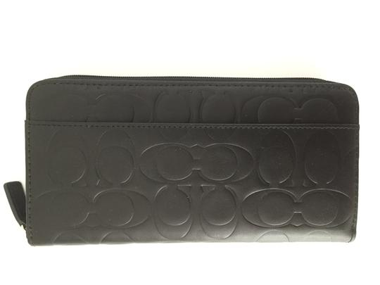 Coach Coach men's ladies signature label large size long zipper wallet leather black