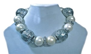Designer Spanish Silver Pearl Collar Necklace