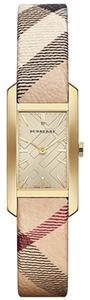 Burberry Burberry Gold Tone Women's Swiss Haymarket Strap Square Face 20mm BU9509