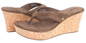 UGG Australia Wedge Natassia Suede Cork Brown Sandals