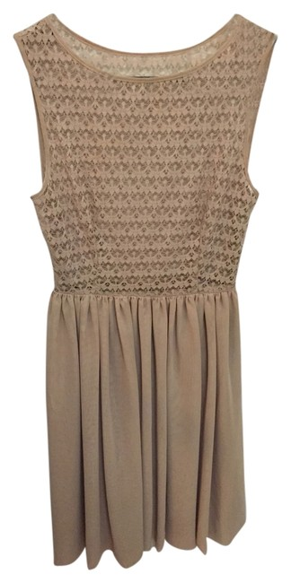 American Apparel short dress Nude Lace Chiffon Beige Tan Chamagne Discontinued on Tradesy