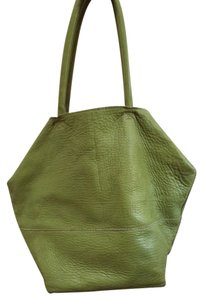 Crate & Barrel Leather Pebbled-leather Bucket Tote in green