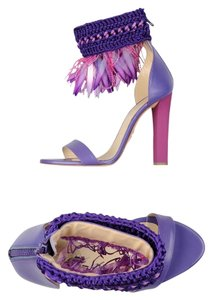 Roberto Cavalli Sequin Beaded Embellished Purple Sandals