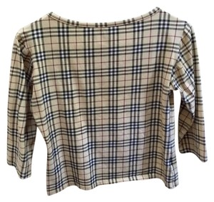 Burberry 3/4 Length Sleeve Boat Neck Cotton Stretch T Shirt classic Burberry plaid