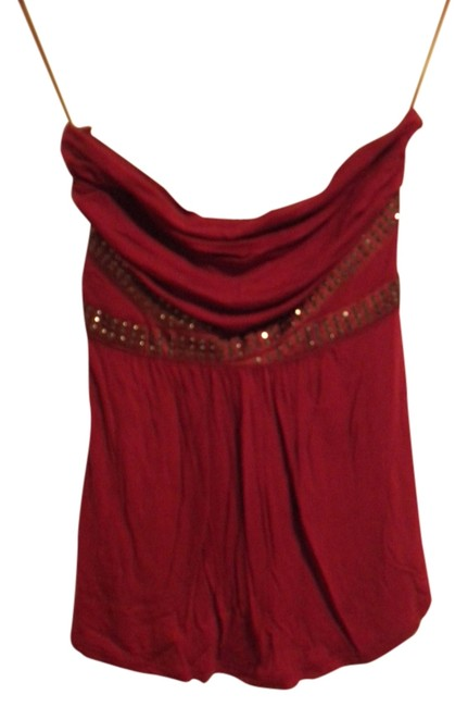 Express Tube Strapless Shirt Shirt Tube Strapless Studded Top Red