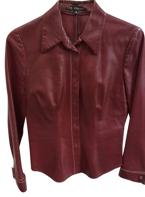 Item - Red Leather Leather Topstiched Detail Blouse Size 8 (M)