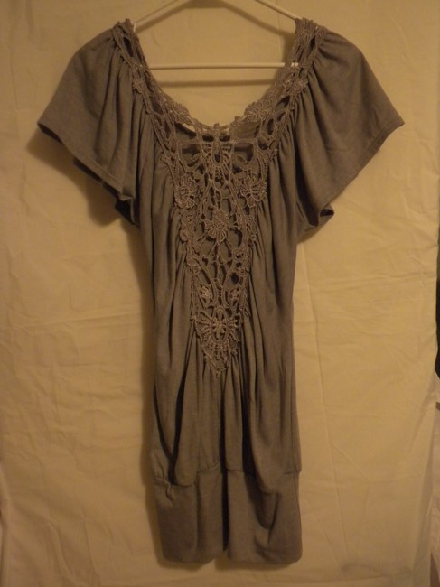 Blu Heaven Lace Night Out Casual Top Grey