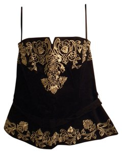 White House | Black Market Embroidered Night Out Black Halter Top