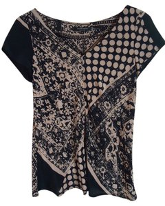 Nanette Lepore Silk Black Camel Print V-neck Top