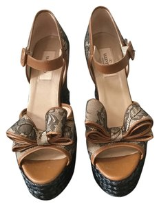 Valentino Black lace camel leather Platforms