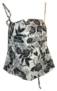 White House | Black Market Zip Keyhole Night Out Casual Corset Black & White Halter Top