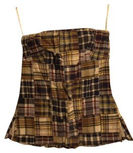 J.Crew Strapless Plaid Casual blue, maroon, green Halter Top