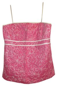 Lilly Pulitzer Strapless Embroidered Casual Date Night Pink Halter Top