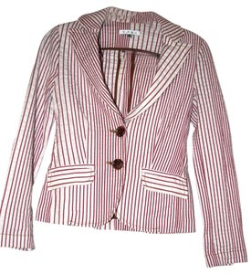 CAbi Striped Fun Spring White with Red Stripes Blazer