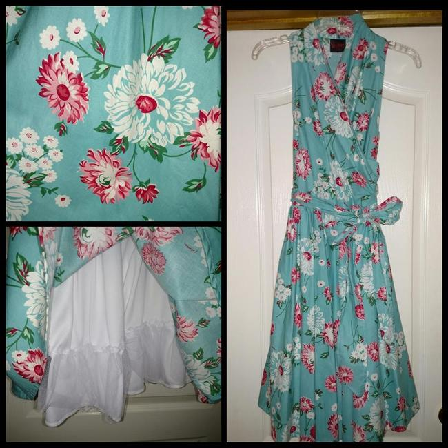 Folter short dress turquoise Pinup Clothing Vintage Style Floral Print Wrap on Tradesy