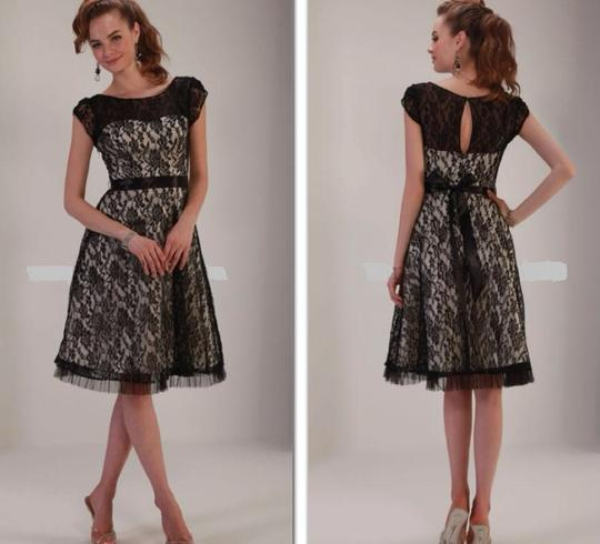 Venus Bridal Black/Gold Lace Tm1662 Homecoming Evening Modest Bridesmaid/Mob Dress Size 10 (M)