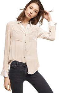 Anthropologie Anthro Silk Velvet Holding Button Down Shirt