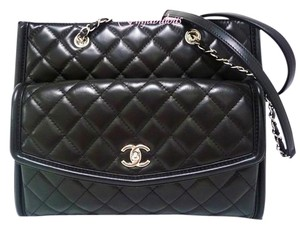 Chanel Lambskin Leather Quilted Tote in Black