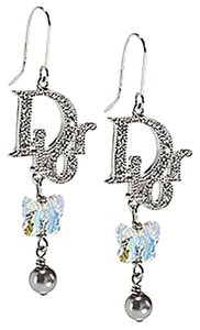 Dior Christian Dior Logo Crystal Butterfly Charm Drop Dangle Earrings