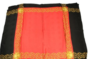 Chanel Black and Red with Gold Chain Detail Scarf CCTL20