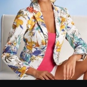 Boston Proper Floral Back Pleating New With Tags Lined Tailored Fit Button Front Flap Multi/ Floral Jacket