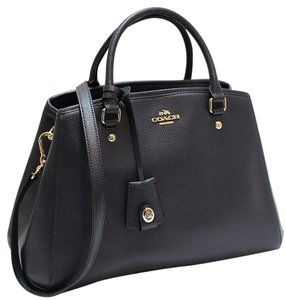 Coach Gold Hardware Leather Satchel in Black