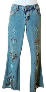 Cache Embellished Gemstones Stretch Petite 4 Small Flare Leg Jeans-Medium Wash