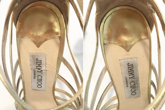 Jimmy Choo Metallic Leather Strappy Heels Cage Gold Sandals