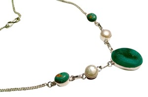 New Malachite, Pearl & Druzy Agate Gemstone Necklace 925 Silver J1281