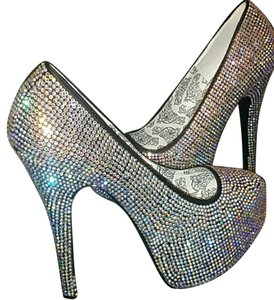 Bordello #bordello #burlesque #platform #exclusive #rhinestones #fashionista Silver Platforms