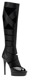 Gucci Leather Cutout Rocker Sexy Black Boots