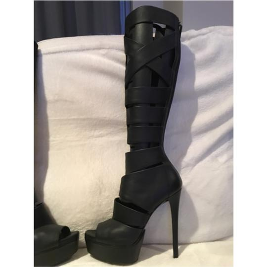 Gucci Leather Cutout Rocker Sexy Platform Open Toe Penny Lane Black Boots