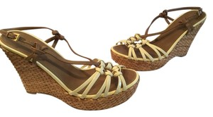 Prada Upper Topstitching Woven Italian E39.5 Bone and brown patent leather Espadrille Wedges
