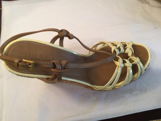 Prada Patent/Leather Upper Topstitching Woven Italian E39.5 MAJOR PRICE REDUCTION Bone and brown patent leather Espadrille Wedges