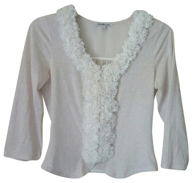 Charlotte Russe Embellished Cute Top Greyish White