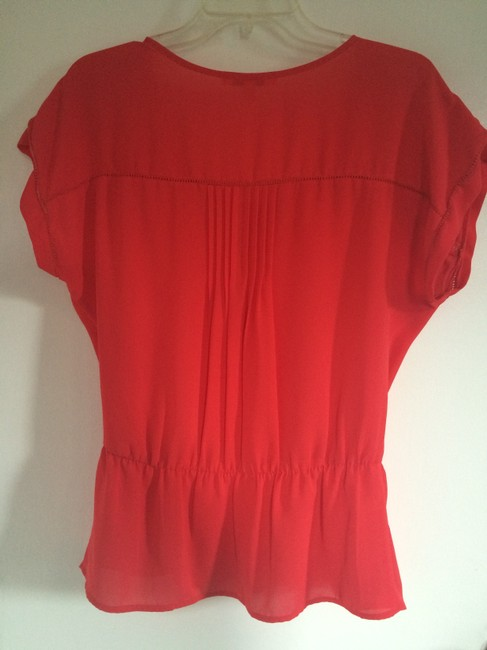 Daniel Rainn Crochet Clinch Waist V-neck Bright Color Silk Top Coral
