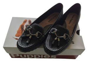 Hush Puppies Leather Tassels Black Flats