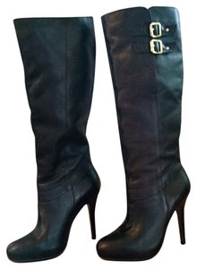 Nine West Knee High Leather Hidden Platform Black Leather Boots