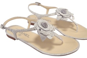 Chanel Camilla Flower Logo Thongs Gray Sandals