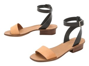 Madewell Leather Color-blocking Platform Tan, Black colorblock Sandals