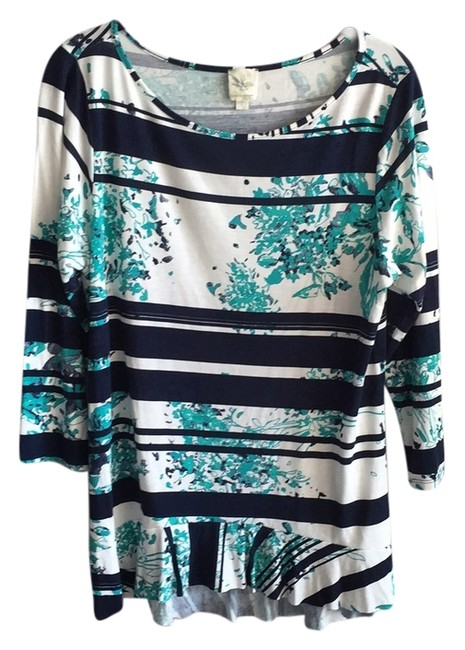Anthropologie Top Blue Motif