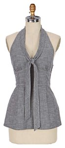 Anthropologie Fei Tailored Cotton Gray Halter Top