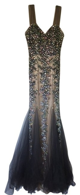 Item - Beige/Grey Mermaid Gown Long Formal Dress Size 6 (S)