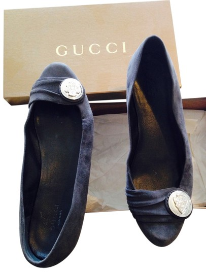 Gucci Sued Grey and silver Flats