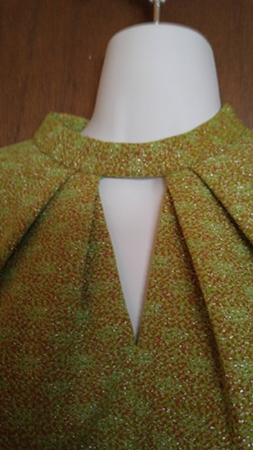 Jacoby short dress green, brown, silver A-line Mandarin Rhinestone Size 12 A-line Vintage 1970s on Tradesy