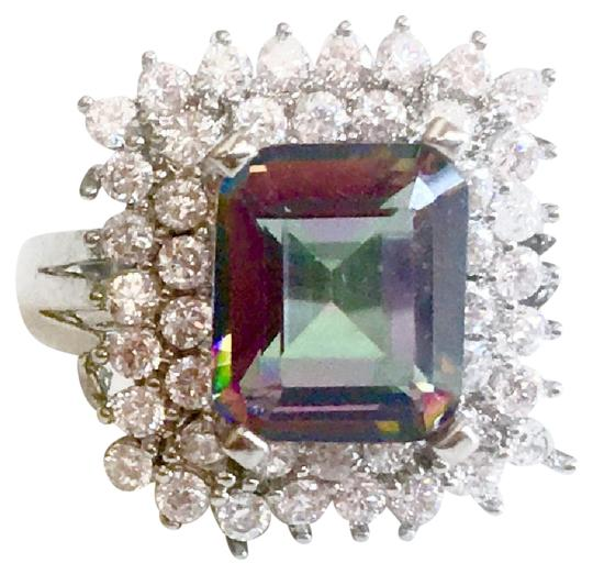 Other Elegant Emerald Faceted Mystic Topaz Sterling Silver Cocktail Ring 7.5